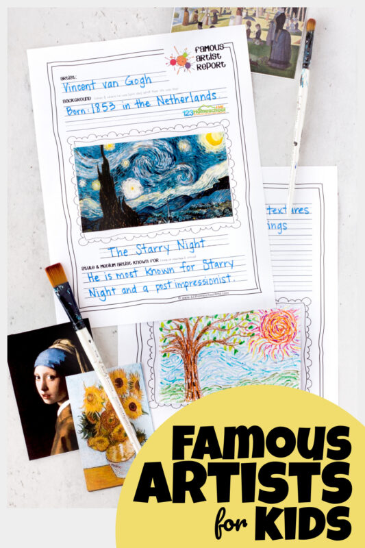 Are you teaching your children about famous artists for kids? Helping kids learn to appreciate art and different techniques is such a great activity. Whether you are studying monet, van gogh, picasso, mondrian, or one of the other many popular artists - these artist report pages are a great way for kids to remember what they learn. Use these famous artists worksheets with kindergarten, first graders, 2nd graders, 3rd graders, 4th grader, 5th graders, 6th graders, 7th graders, and 8th graders. Simply download pdf file with artist report templateand you are ready to create and learn!