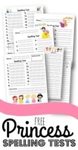 FREE Princess Spelling Worksheets - help make practicing spelling fun with these free printable spelling worksheets for elementary age kids to work on any spelling words #spelling #spellingtests #princessprintables