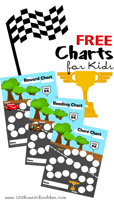 FREE Disney Cars Charts for Kids!! Help motivate kids with these chore charts, reading charts, behavior chart, potty chart, etc. featuring lightening mcqueen and tow mater #chorecharts #rewardcharts #readingcharts