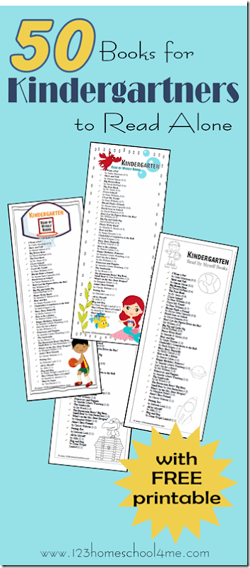 50 Books for Kindergartners to Read Themselves. FREE printable book list to take to the library with books listed by book level / reading level (summer reading, reading list, summer learning)
