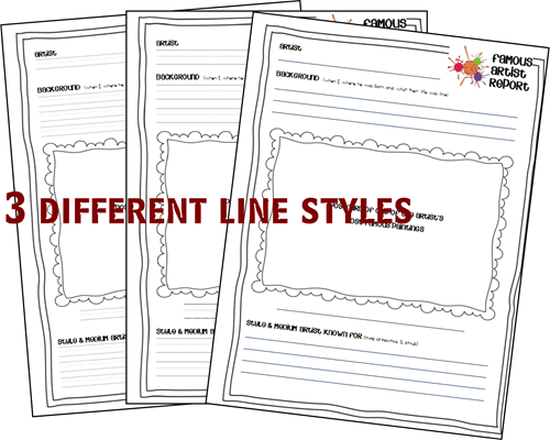 3 styles of lines for famous artists report