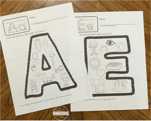 kids will have fun learning their letters and practicing beginning sounds with these alphabet coloring pages - pictures is letter e and letter a coloring pages