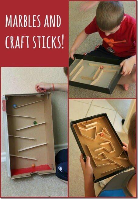 how to make a marble run using craft sticks #kidsactivities #preschool #funforkids