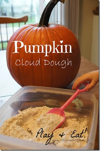 Come take a peak at our easy, peasy Pumpkin Cloud Dough Recipe perfect for a fun, hands on fall activity for toddler, preschool, pre k, kindergarten, and first grade students.  Not only is this cloud dough recipe great for sensory exploration and strengthening hand muscles, but it is easy to clean up and tasty to eat too!