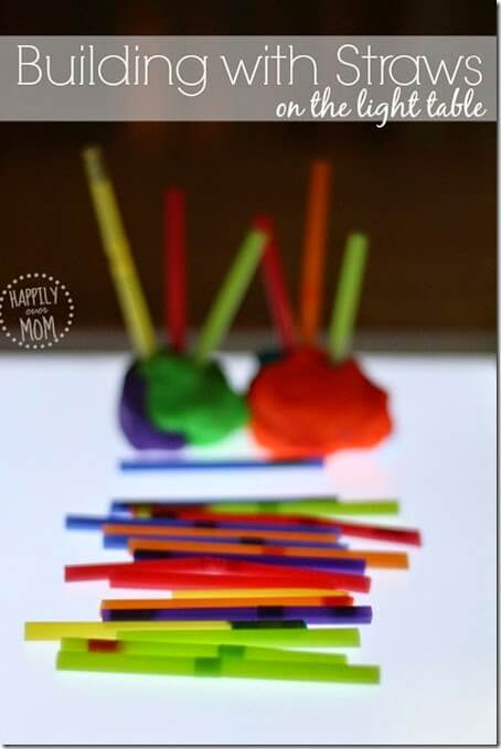 Building with Straws Kids Activity #preschool