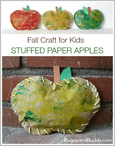 """""""stuffed"""" Apple Craft for Kids #preschool #craftsforkids #september"""