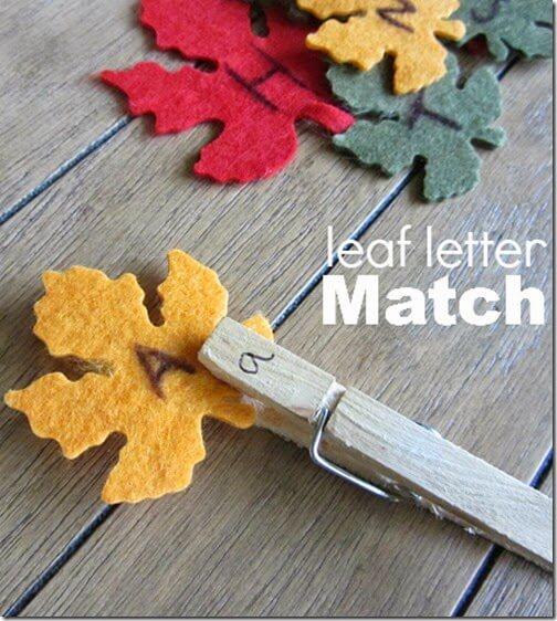 Alphabet Leaf Letter Match #alpahabet #preschool #fall