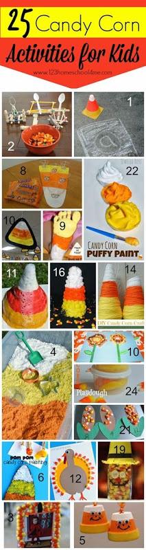 25 Candy Corn Activities for Kids #fall #play #kidsactvities #preschool #fallcraftsforkids