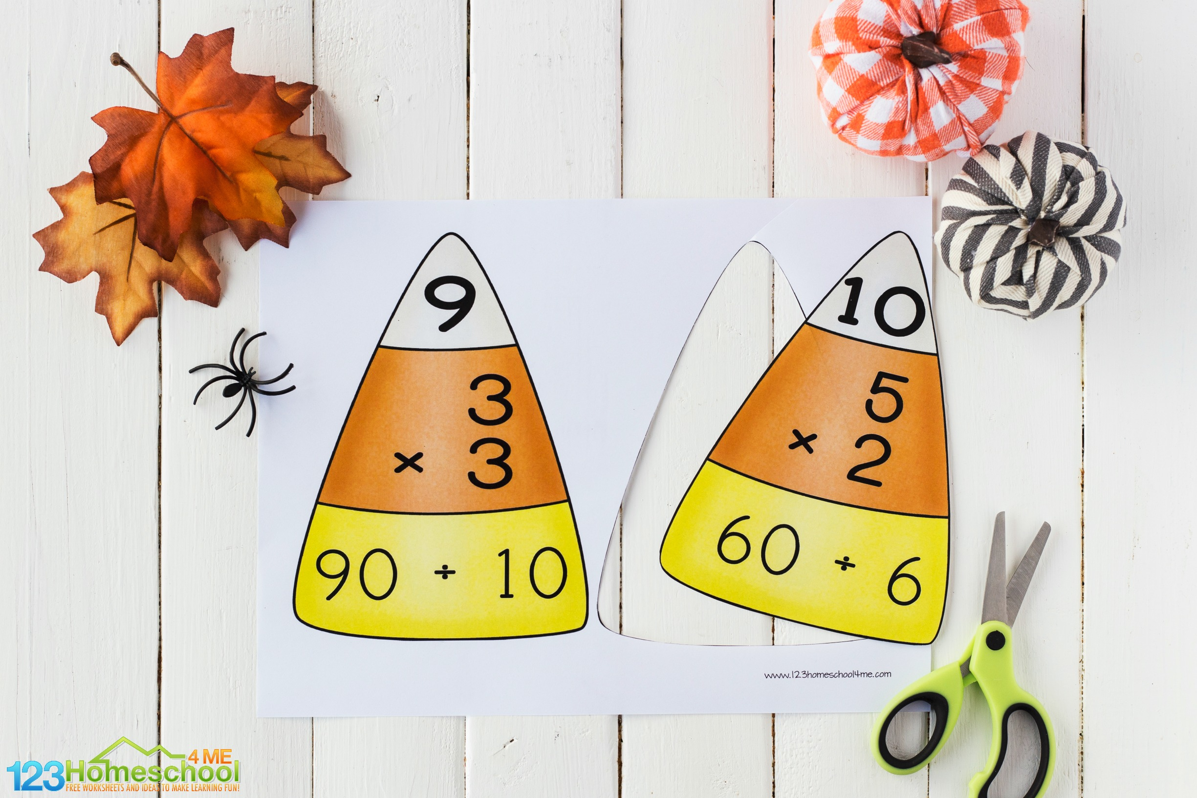 free Candy Corn Division puzzles for grade 3, grade 4, grade 5, and grade 6 students to practice division facts in October as a Halloween themed math activity or math center