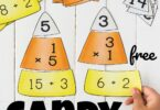 If you are looking for a fun, hands-on fall math activity, you are going to love this Candy Corn Math! These free printable Candy Corn Multiplication and candy corn division puzzles make it fun for 3rd and 4th grade students to sneak in some fun math practice during October and November! We love educational activities and free math games to make learning fun!