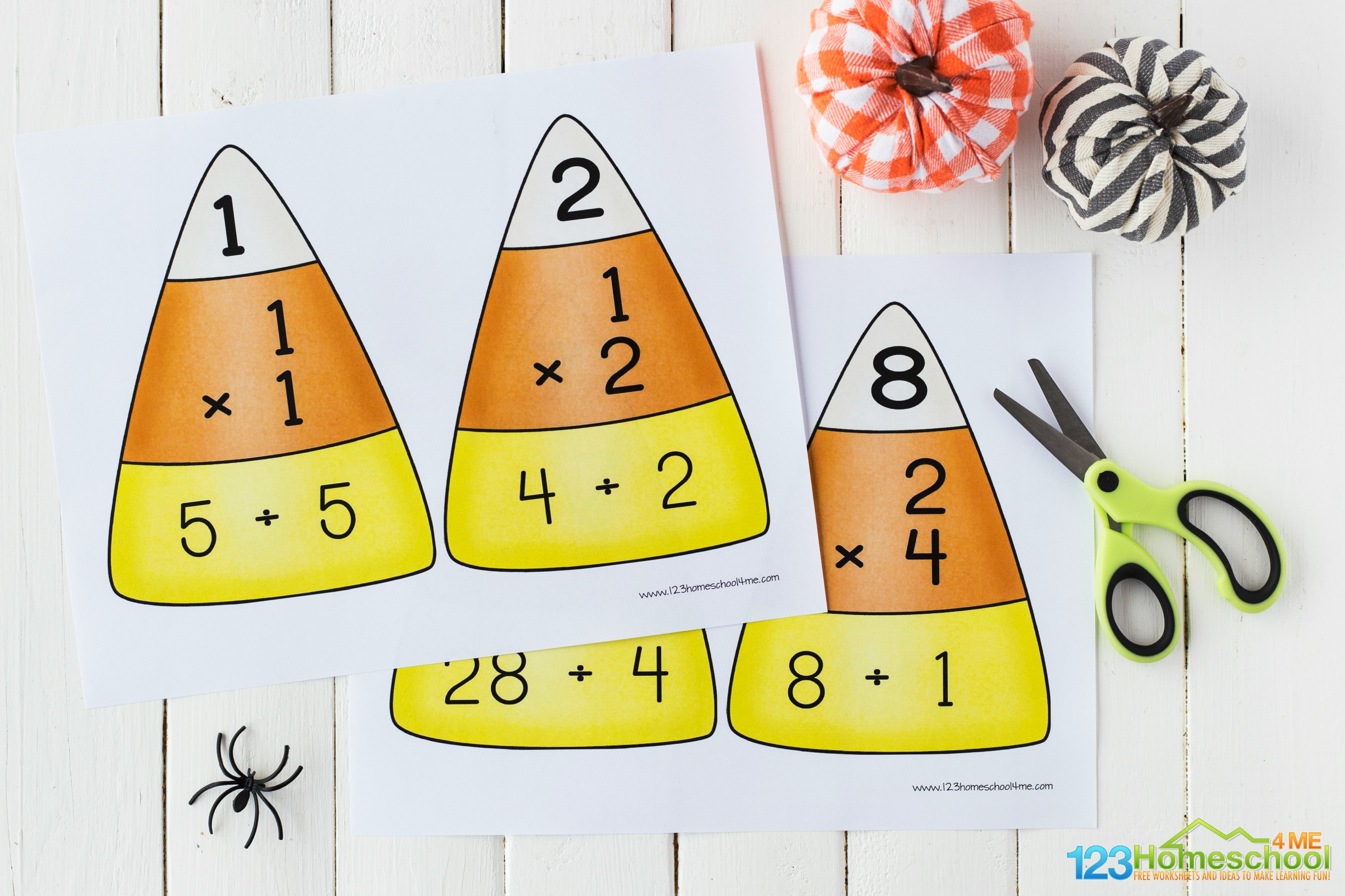 free Candy Corn Multiplication puzzles for 3rd grade, 4th grade, 5th grade, and 6th grade to practice multiplication facts in October as a Halloween themed math activity or math center