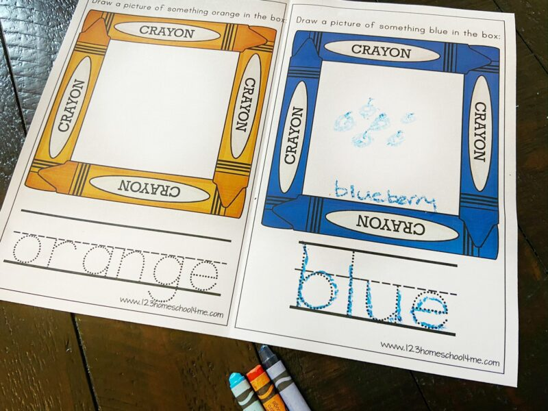 crayon themed, printable Color Book for Preschool