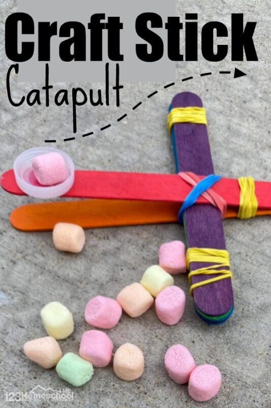 I honestly did not know that a few popsicle sticks, rubber bands and a bottle cap would shoot marshmallows as far as it did! I was so surprised. You've got to try this easy engineering and science project making aPopsicle Stick Catapult! This STEM project uses a couple simple materials you already have at home. This is such a fun