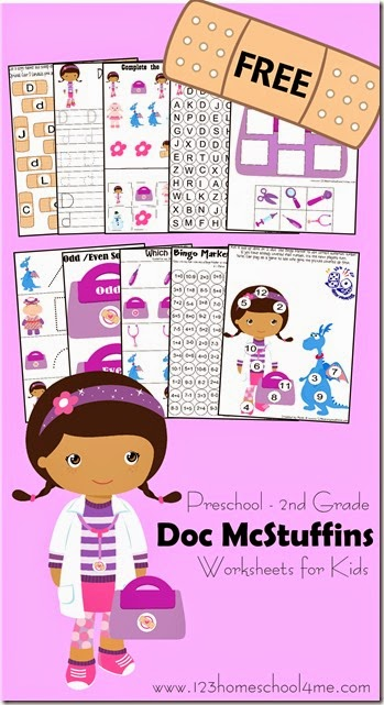 Doc McStuffins - Free Preschool Worksheets #disneykids #disneyjunior #preschool #kindergarten