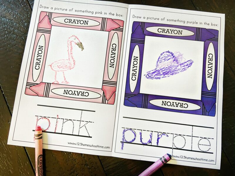kids will draw a picture representing each color and trace the color words with this free printable for Learning Colors