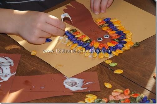 pumpkin seed turkey craft for kids