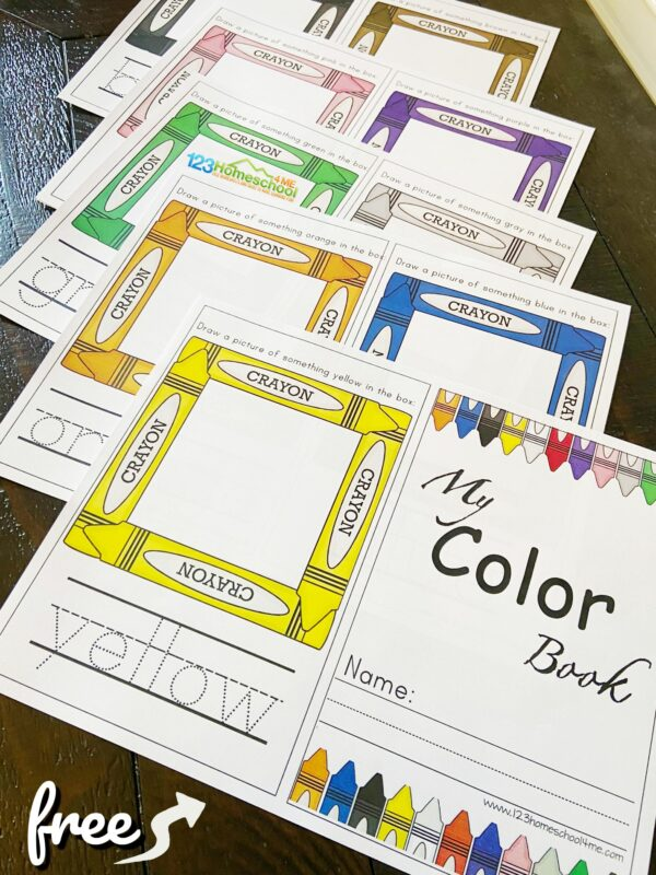 Young learners will have fun learning their colors and working on color recognition and colors words with this free preschool color book printable.