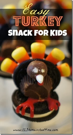 Super cute Turkey Snack for Kids is a fun edible turkey craft for kids, to put at everyone spot on the Thanksgiving table or just for a special after school snack in November.