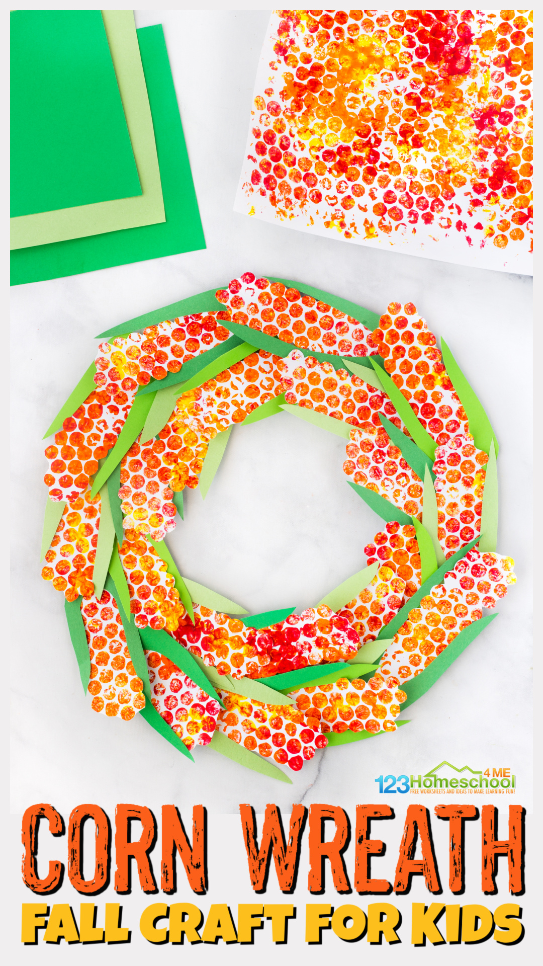 Looking for a fun-to-makeAutumn craft for kids? This beautifulcorn wreath craft uses such a fun technique to make an Indian Corn construction paper and paint craft for toddler, preschool, pre-k, kindergarten, first grade, 2nd grade, and 3rd graders too. Thisfall craft for preschoolers is sure to brighten up your room, window, or front door throughout September, October, and even November for Pre-k Thanksgiving Crafts.