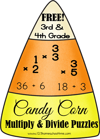 FREE Candy Corn Math Puzzles (multiplication and division practice for 3rd & 4th graders) #math #homeschool #education #fall