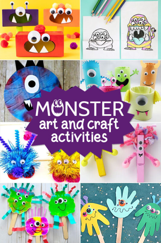 over 100 super cute and fun to make monster crafts for kids from toddler, preschool, pre k, kindergarten, and first grade students