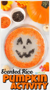Children will have fun creating a jack-o-lantern this October with this rice sensory play. We are always looking forpumpkin activities that are fun, engaging, and sneak in some learning. Thispumpkin sensory bin is great for sensory play, tactile activity, strengthening fine motor skills and pincer grasp, and more. You can use thispumpkin activity for toddlers,preschoolers, kindergartners, and grade 1 students to create a happy pumpkin ashalloween activities and even trace spelling words or cvc words in it too.