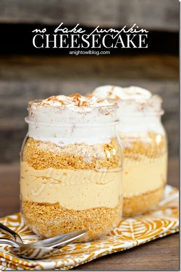 I love the presentation of this pumpkin cheesecake recipe where you make them in jars - so pretty & YUMMY! Perfect for October or Thanksgiving