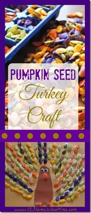 Cute Pumpkin Seed Turkey Craft #thansgiving #turkeycraftforkids #preschool #craftsforkids