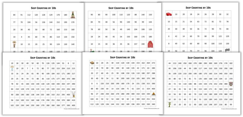 free printable math worksheets to help students kip counting by 10