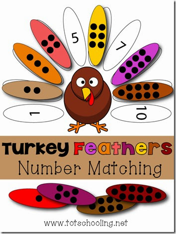 toddler and preschool turkey number learning activity