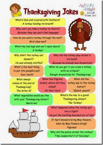 Free printable Thanksgiving Jokes for Kids #thanksgiving #kidsactivities