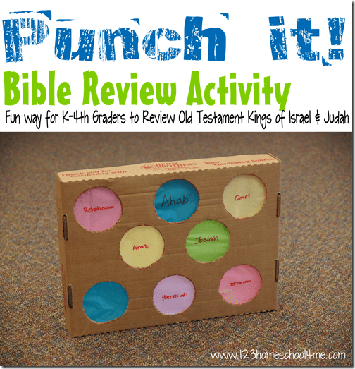 Whether you are looking for a fun DIY Bible review games for Sunday School or your homeschool Bible lesson this fun Punch it game is sure to keep kids engaged and having fun while learning about Bible stories. We used this to review good and bad kings of the Bible. This is such a fun Bible activity for kindergarten, first grade, and 2nd grade students.