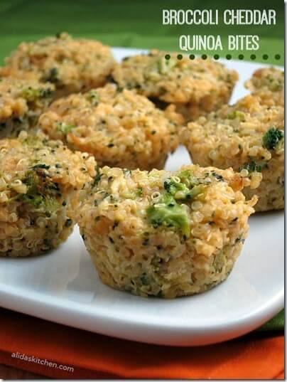 Broccoli Cheddar Quinoa Bites #recipes #yummy #realfood