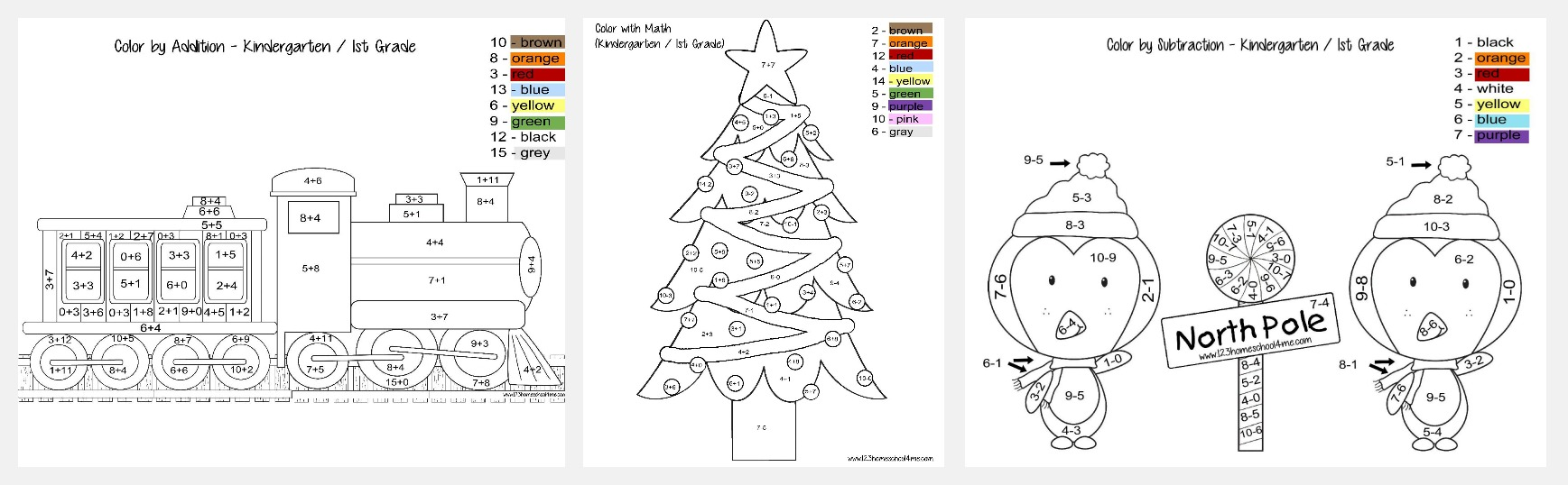 Christmas Color by Addition and subtraction