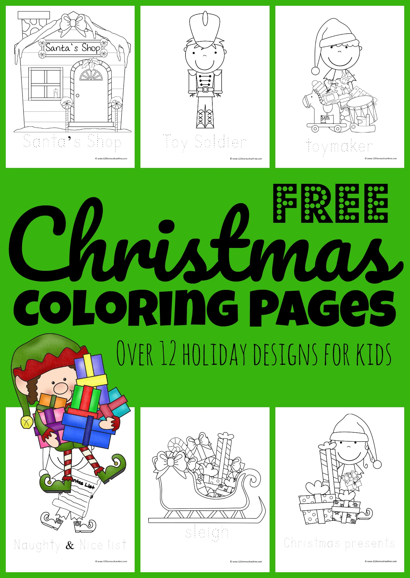 Celebrate the holiday seasons with these super cute, free printable Christmas Coloring Pages. This pack of free Christmas coloring sheets are all about Santa Clause and his helpers the Elves, Soldiers, toys, and Santa's workshop. Toddler, preschool, pre-k, kindergarten, and first grade children will have fun strengthening fine motor skills as they decorate and colour these simple coloring pages in December.  Simply download the Christmas Coloring Pages PDF and you are ready for fun!