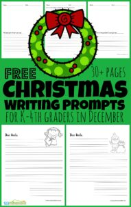 If you are looking for some fun ideas to get your child writing more during the month of December? You will love these free printableChristmas Writing Prompts for kindergarten, first grade, 2nd grade, 3rd grade, and 4th grade students. There are over 30 pages ofDecember writing prompts,letters to Santa templates, and more with both smaller and wider ruled lines!