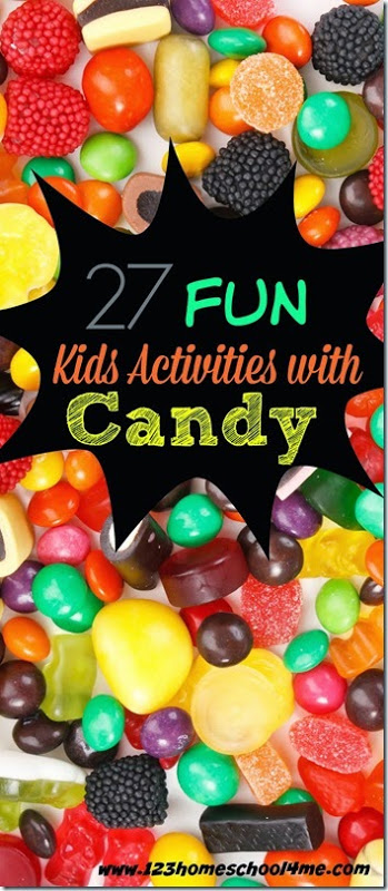 Over 27 really fun candy activities for kids of all ages from toddler, preschool, pre k, kindergarten, first grade, 2nd grade, and 3rd grade students. Using colorful, yummy, and engaging leftover candy you can use these fun kids activities to sneak ins some fun candy math, candy science, candy art, and more!