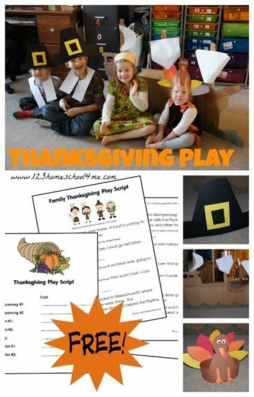 Help kids celebrate the First Thanksgiving with this super cute, free printable thanksgiving skits! Simply download pdf file, assign roles of Pilgrims, Indians, and get our suggestions for simple Thanksgiving costumes for a fun Thanksgiving activity and history activity for kids in November. This Thanksgiving play for families can be adapted to various sizes of groups. Perfect for a family Thanksgiving gathering, classrooms, or homeschool coops.