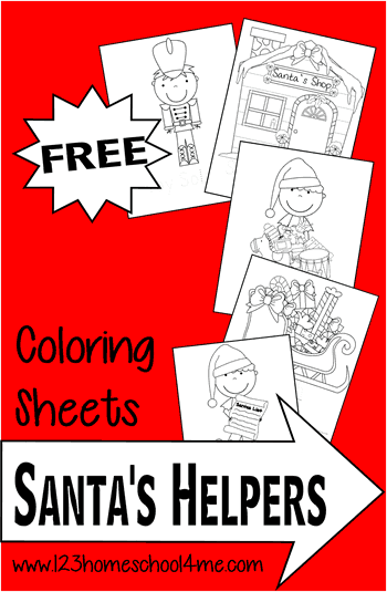 FREE Santa's Helpers Christmas Coloring Pages - These Christmas themed coloring sheets are lots of fun for toddler, preschool, prek, kindergarten, first grade, 2nd grade in December #coloringsheets #christmascoloring #Christmas