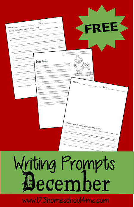 FREE Christmas Writing Prompts - lots of different ideas for kids crative writing in December with lined pages for Kindergarten, first grade, 2nd grade, 3rd grade, and 4th grade students #writingprompts #creativewriting #december