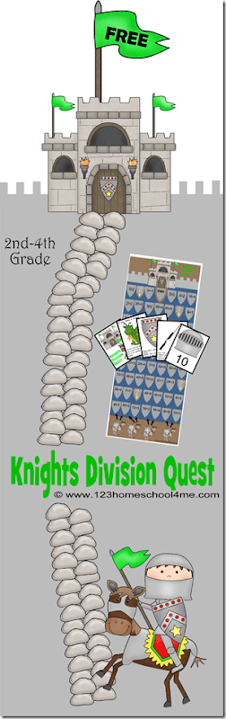 FREE Knights Division Quest is a fun math game to help 3rd, 4th, and 5th graders practice division while having fun!! This free division game is a fun, hands on, basic, simple, fun, and easy division game. #division #mathgames #4thgrade