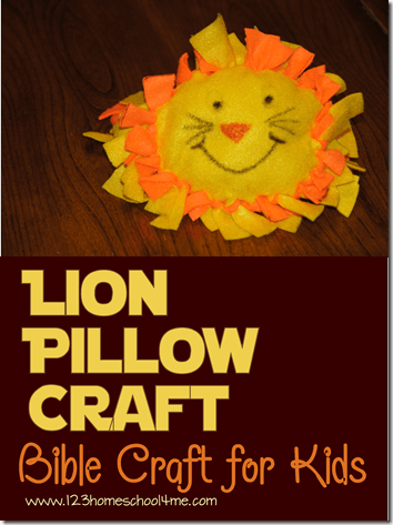 Daniel and the Lion's Den Lion Pillow Craft for Kids - This is a fun-to-make Bible crafts for kids at home or part of a Sunday School Lessons. This is great for  preschool, crafts for kids, kindergarten, first grade, 2nd grade, 3rd grade. #biblecrafts #sundayschool #preschool