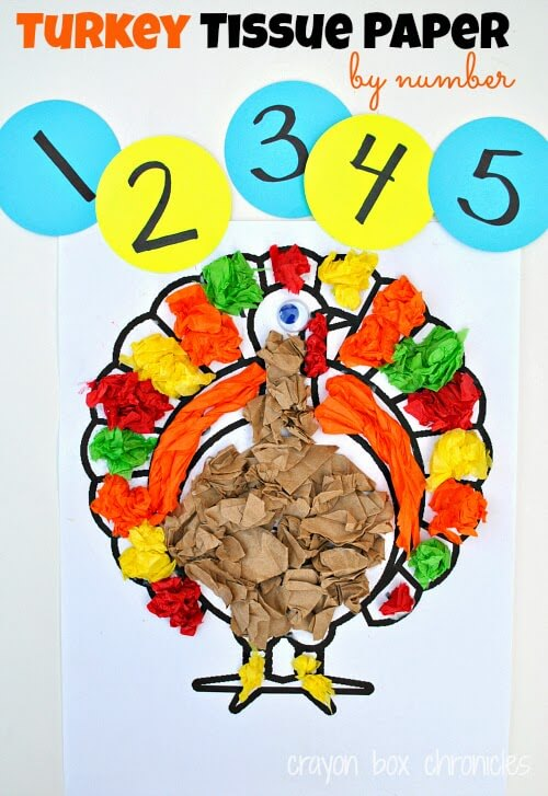 Turkey Tissue Paper by Number Craft for Kids #preschool #numbers #turkey #thanksgiving