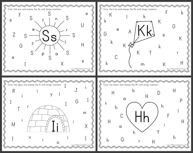 super cute, free printable Alphabet Bingo Dauber Worksheets