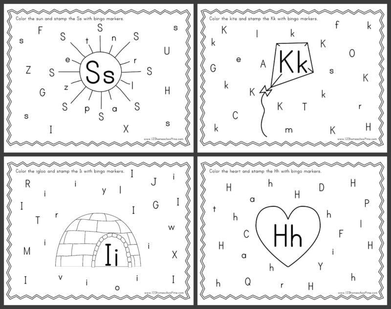 super cute, free printable Alphabet Bingo Dauber Worksheets