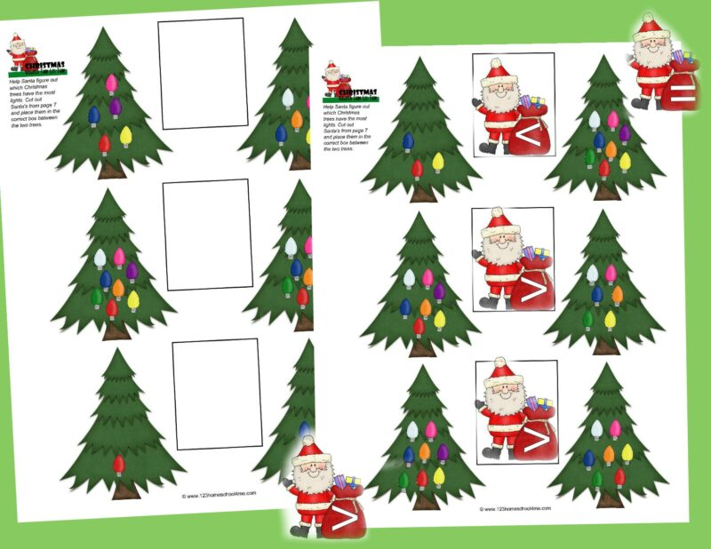 Add some fun to your homeschool this December with these free printable Christmas greater than less than math worksheets.  These Christmas worksheets help kids in kindergarten, first grade, and 2nd grade practice comparing numbers to figure out which one is greater than, less than, or equal to with a fun, engaging holiday themed math activity.
