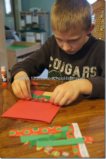 glue strips of paper on folded cardstock
