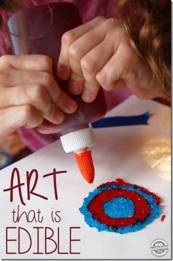 Edible Candy Art - This has got to be one of the coolest kids activities I've seen! Your preschool, Kindergarten, and elementary age kid will love making art that they can eat!