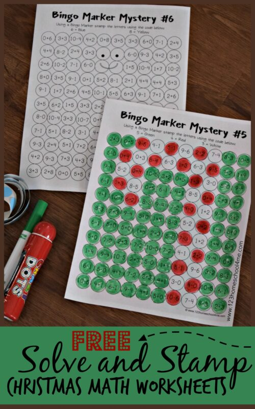 image regarding Quick Solve Mysteries Printable referred to as Clear up and Stamp Xmas Math Worksheets 123 Homeschool 4 Me