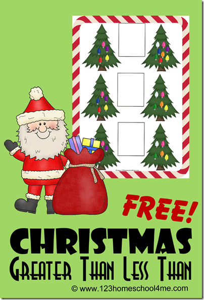 FREE Greater than Less than Worksheets - super cute free printable Christmas math worksheets to help Kindergarten, 1st grade, and 2nd grade students practice greater than and less than with a fun Christmas twist. #christmasprintable #christmasworksheets #kindergarten